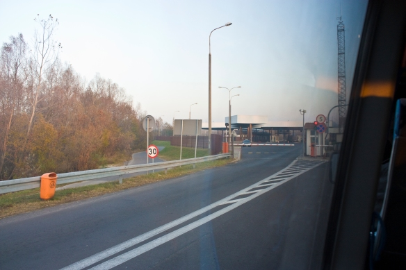 Belarus lies on the other side of that border crossing.